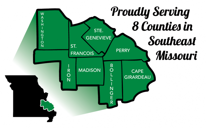 expanded map of washington, st francois, ste genevieve, perry, iron, madison, bollinger, and cape girardeau counties