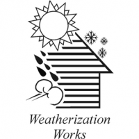 weatherization works house with rain snow and sun